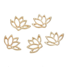 Load image into Gallery viewer, 5 pcs Gold Lotus Flower Connector