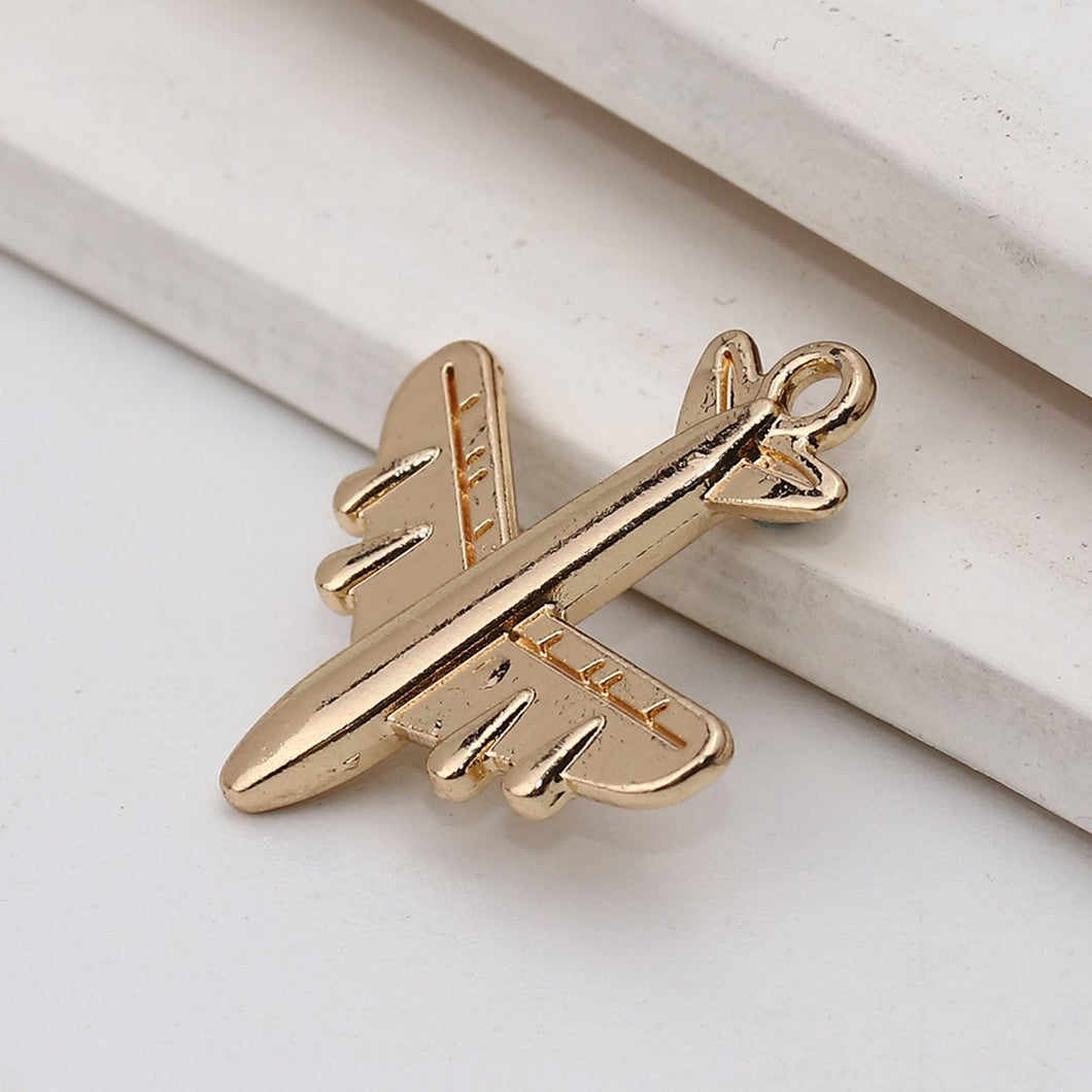 5 pcs - Airplane Charm, Gold Airplane, Travel Charms, Plane Charms, Gold Charms