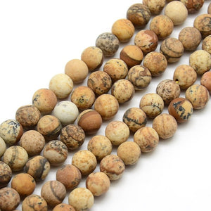 8 mm- Frosted Natural Picture Jasper Round Bead Strands