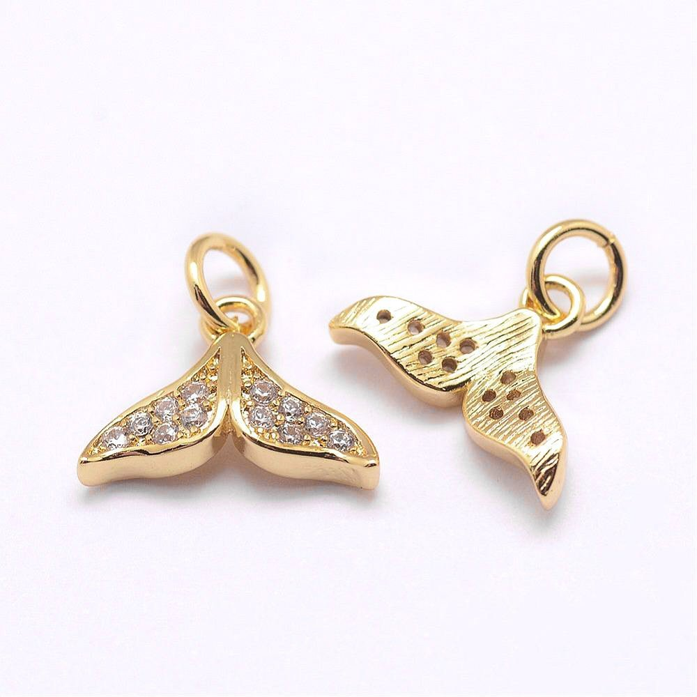Gold Cubic Zirconia Mermaid Tail Charm