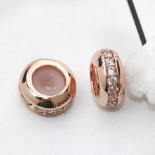 Load image into Gallery viewer, 2 pcs- Cubic Zirconia Rose Gold Clasp Bead, Slider Clasp Bead