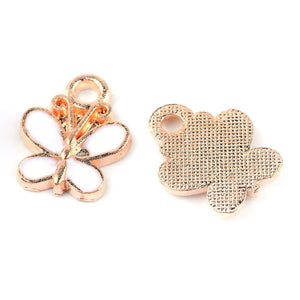 10 pcs - Gold & White Butterfly Charm