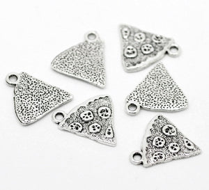 4 pcs - Pizza Charm, Pizza Slice Charm, Food Charms
