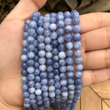 "Load image into Gallery viewer, Dyed Natural Quartz Round Bead Strands -Imitation Aquamarine 6 mm Natural Gemstone Beads- 15"" strand"