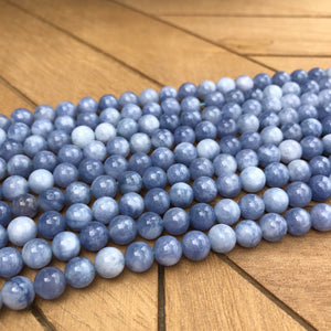 "Dyed Natural Quartz Round Bead Strands -Imitation Aquamarine 6 mm Natural Gemstone Beads- 15"" strand"