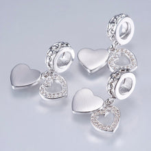 Load image into Gallery viewer, Silver Cubic Zirconia Heart Charm, Heart Dangle Charm, Heart Charm