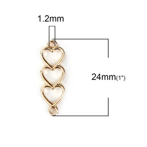 3 pcs -Heart connector, Gold hearts, gold heart connector, triple hearts
