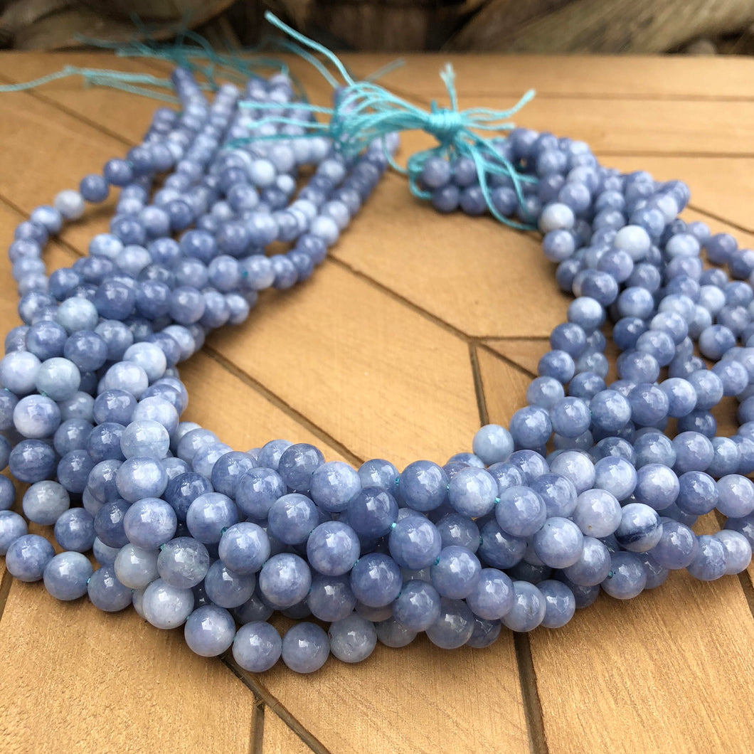 Dyed Natural Quartz Round Bead Strands -Imitation Aquamarine 6 mm Natural Gemstone Beads- 15