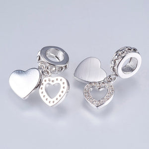 Silver Cubic Zirconia Heart Charm, Heart Dangle Charm, Heart Charm