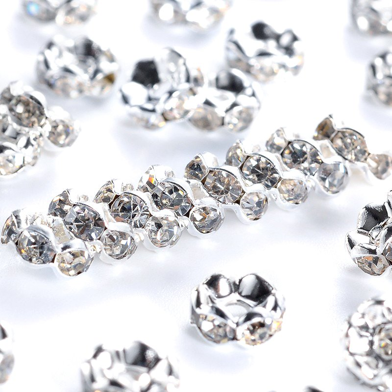 20 pcs - 6 mm Brass Rhinestone Spacer Beads, Flat Spacer Beads, Small Spacer Beads, Silver Spacers, Tiny Spacer Beads, Spacers