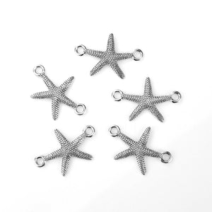 5 pcs- Antique Silver Starfish Connector Charm