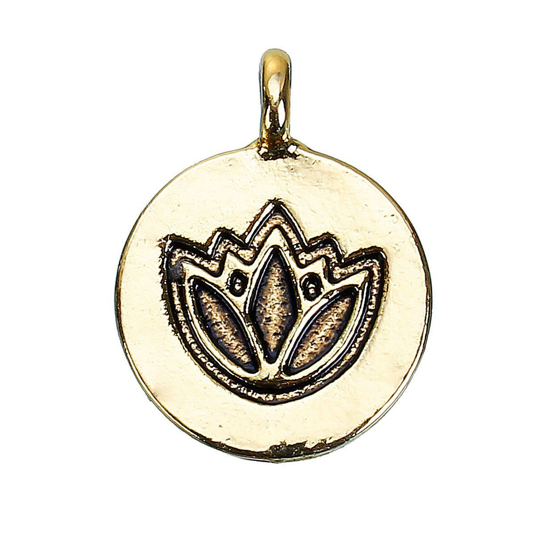 Gold Lotus Flower Charm