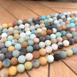 8 mm Frosted Amazonite Beads- Natural Stone Beads- Round Gemstone Beads