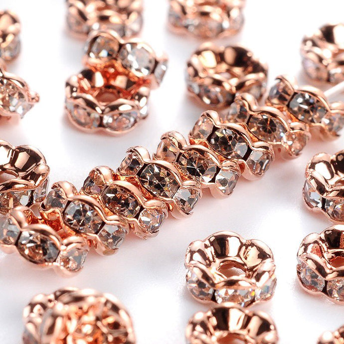 20 pcs 6mm Rose Gold Brass Rhinestone Spacer Beads