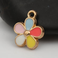 Load image into Gallery viewer, 5 pcs - Colorful Flower, Flower Connector, Enamel Flower, Enamel Connectors, Colorful Flower Connector