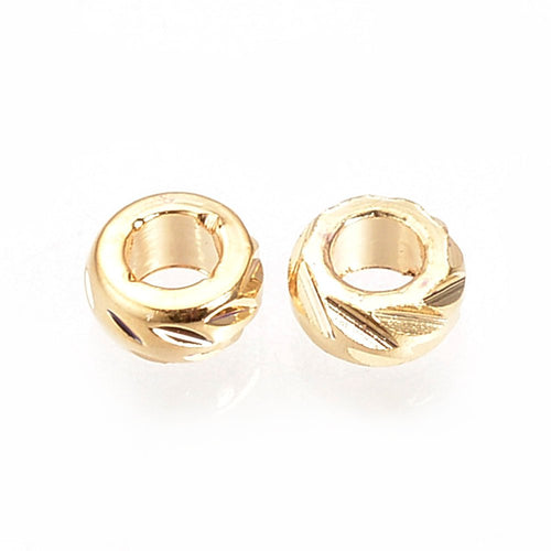 30 pcs -Brass Bead Spacers, Gold Plated, Ring Spacers, Round Spacer Beads, Tiny Spacers