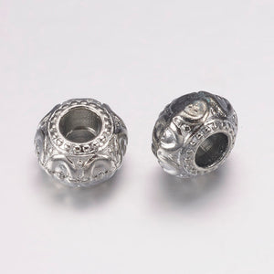10 pcs - Alloy European Beads, Rondelle, Platinum