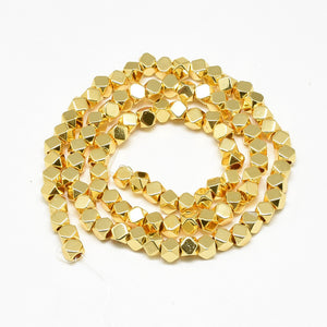 Electroplate Synthetic Non-magnetic Hematite Beads Strands, Polygon, Golden Spacers
