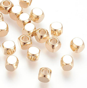 20 pcs- Gold Squared Spacers, Gold Plated,  5mm Spacer Beads