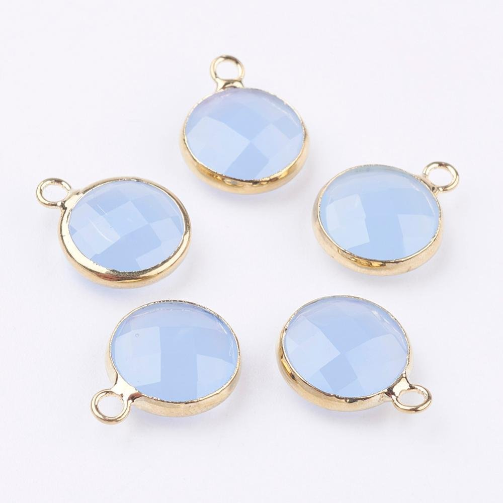 5 pcs- Glass Charms, Flat Round Faceted Charms, Cornflower Blue & Gold Charm