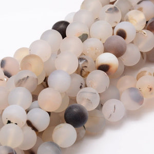 8 mm Frosted Natural Agate Round Beads Strands