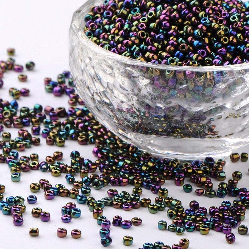 2 oz - 12/0 Glass Seed Beads, Iris Round, Colorful