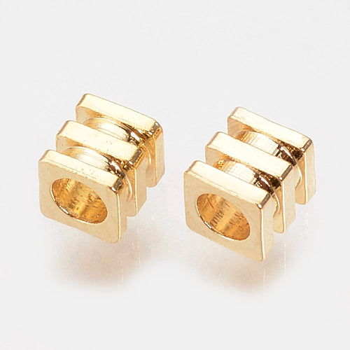 30 pcs -Brass Bead Spacers, Grooved Beads, Gold Plated, Tiny Spacer Beads