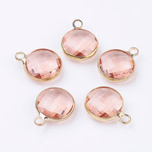 Load image into Gallery viewer, 5 pcs- Glass Charms, Flat Round Faceted Charms, Peach & Gold Color Charm