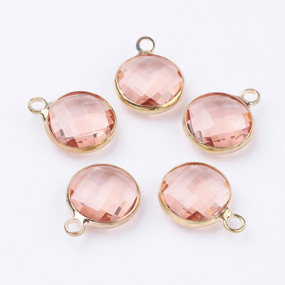 5 pcs- Glass Charms, Flat Round Faceted Charms, Peach & Gold Color Charm