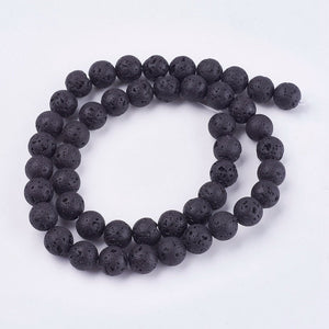 Natural Lava Beads Strand, Black Lava Beads, Oil Diffuser Beads