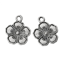 Load image into Gallery viewer, 5 pcs - Flower Charm, Metal Flower Charm