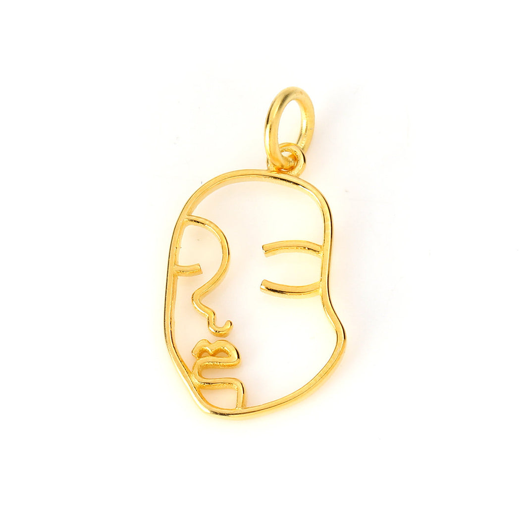 Sterling Silver Charms, Gold Plated Face Pendant