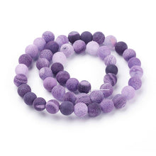 Load image into Gallery viewer, Natural Crackle Agate Beads Strands, Dyed Purple Agate Beads