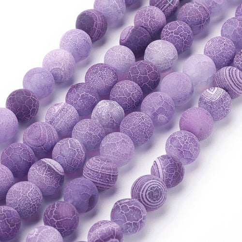 Natural Crackle Agate Beads Strands, Dyed Purple Agate Beads