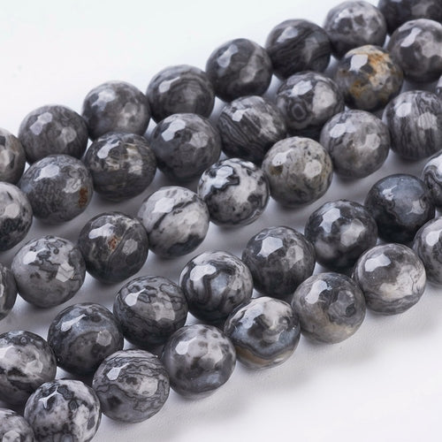8 mm Natural Faceted Marble Beads Strands, Gray Round Beads