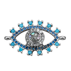 Silver Cubic Zirconia Eye Connector