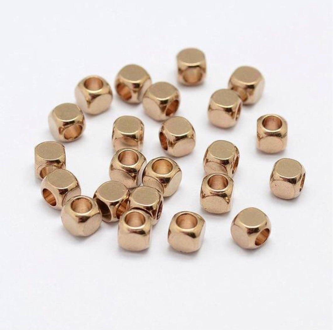 20 pcs- Brass Spacer Beads, Unplated