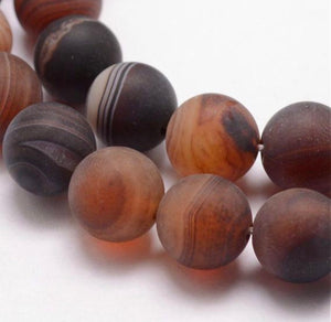 6 mm Natural Striped Agate Bead Strands, Frosted, Dyed & Heated