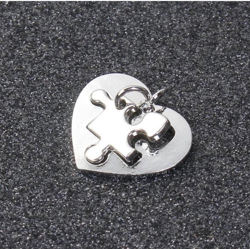 1 set - Heart Puzzle Charm, Couple Charms, Matching Couple Charms