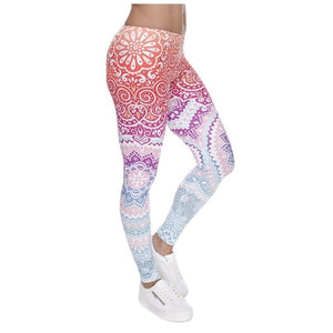 Women Fitness Leggings Legging Aztec Round Ombre Printing Leggins - Better Business Plus