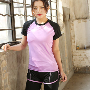 Women's Fitness Training Sports Vest Running Wear Yoga Short Sleeve Gym Top - Better Business Plus