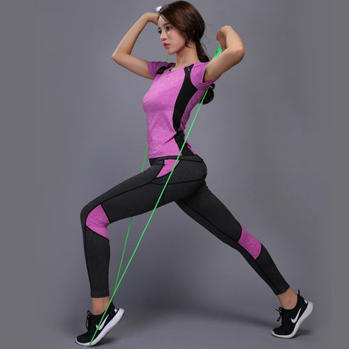 Women Yoga Set Gym Fitness Clothes Tennis Shirt+Pants - Better Business Plus