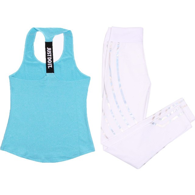 Women Yoga Set Sports Top Vest +Reflective Leggings - Better Business Plus