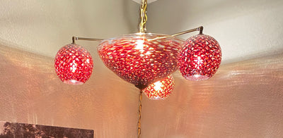 Copper Red Glass Chandelier