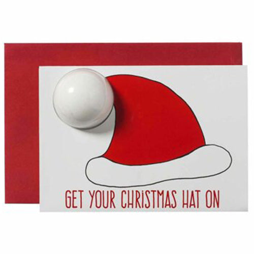 GREETING CARDS SANTA HAT CARD - BIGLIETTO AUGURI