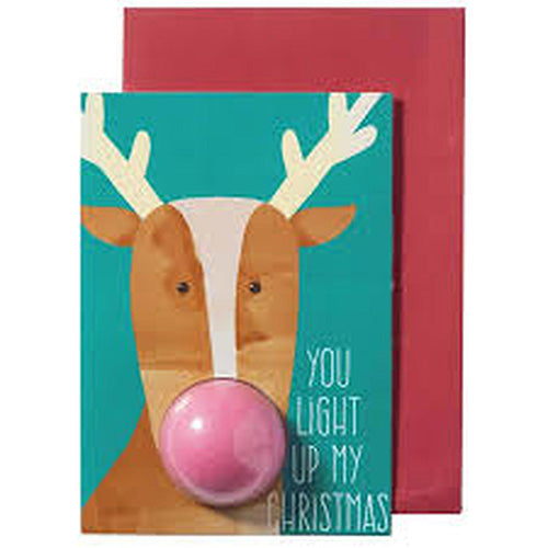 GREETING CARDS LIGHT UP MY CHRISTMAS RUDOLPH CARD - BIGLIETTO AUGURI