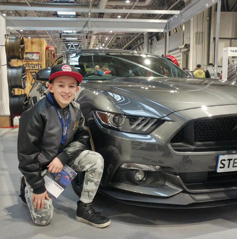 Kid Kamo and the Q500 Enforcer at Autosport 2018 Steeda stand