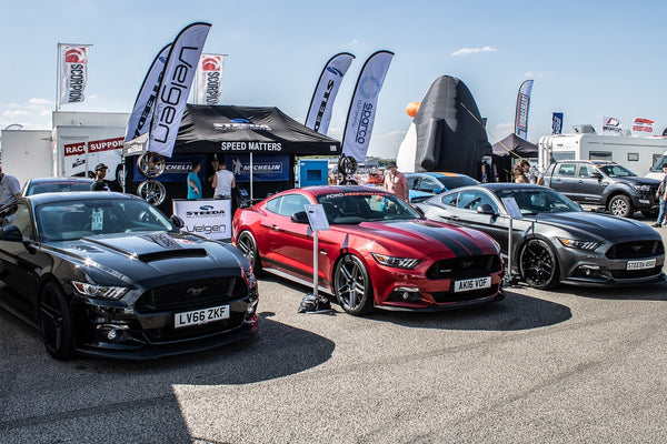 Ford's supercharged demo Mustang GT on Velgen Split 5s was on Steeda stand at Ford Fair 2018