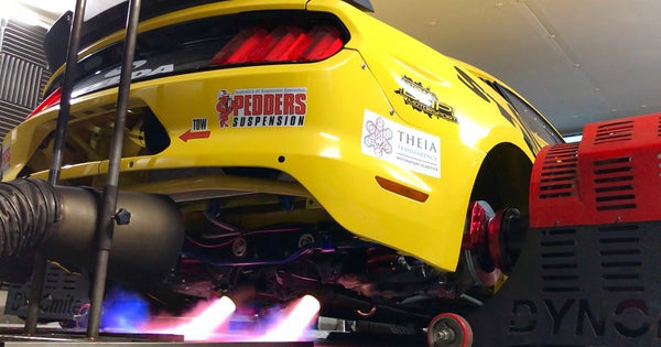 Fire breathing Steeda CAF Drift Mustang being tuned at MAP on hub dyno