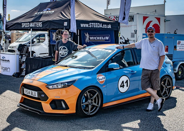 Pauls Gulf Focus RS on Steeda stand at Ford Fair 2018